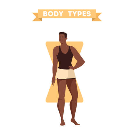 Male body shapes. Triangle and rectangle, pear and apple figure. Human anatomy. Vector illustration in cartoon style