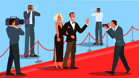 Vector illustration of two celebrity on the red carpet, waving to photographer and paparazzi. Famos and beautiful actor and actress walk to ceremony event. Иллюстрация