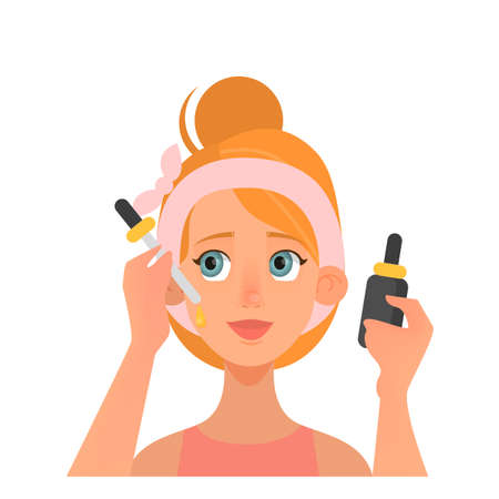 Serum moisturize woman face. Woman care about face beauty and apply serum. Daily skin care routine. Isolated flat vector illustration