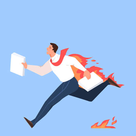Busy man on his workplace, stressed and tired professional worker. Businessman running with document. Idea of deadline and overworking, anxiety and fear.