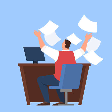 Man having stress in deadline and overworking. Businessman throw away document.