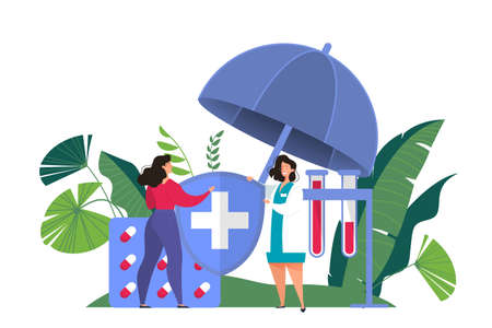 Health insurance concept web banner. Female doctor offer a medical care to woman. Healthcare and medical service. Isolated flat vector illustration