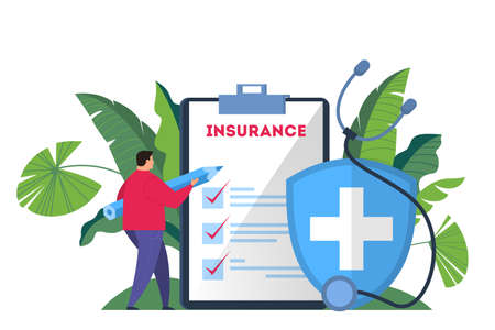 Health insurance concept web banner. Man hold a pen standing at the big clipboard and signing a healthcare insurance document on it. Healthcare and medical service. Isolated flat vector illustration