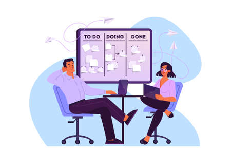 Vector illustration of people plan their schedule, priority task and checking an agenda. Woman and man sitting on chair working on their laptop. An idea of Kanban board, time management