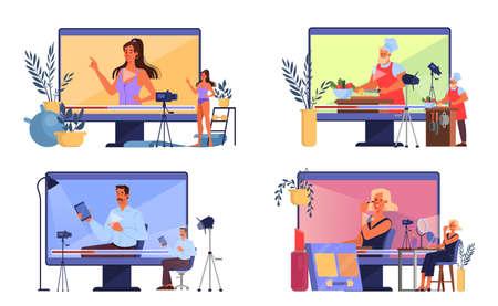 Vector illustration of video blogging concept. Idea of creativity