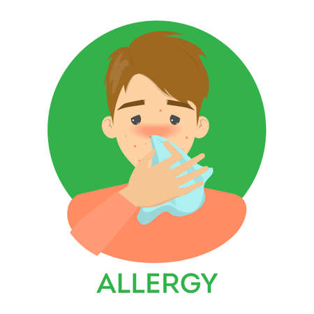 Vector isolated illustration of sick character. Man sneeze