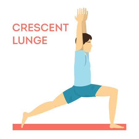 Crescent lunge yoga pose. Fitness exercise for body training