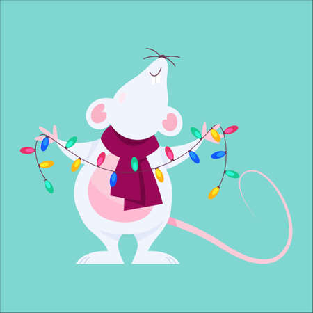 Cute Christmas rat. Animal character holding festive stuff.