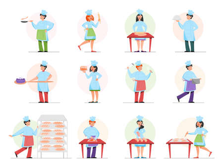 Restaurant chef cooking set. Collection of people in apron making tasty dish. Professional worker on the kitchen. Isolated vector illustration in cartoon style