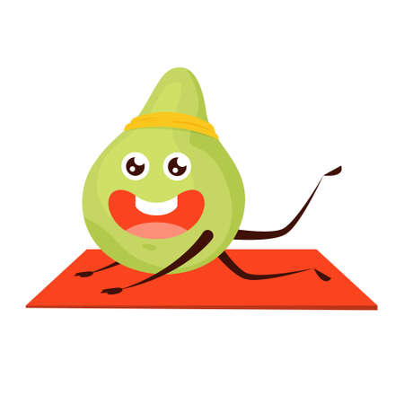 Sport avocado stretching in the gym. Fruit with the face, happy character. Funny lime. Isolated flat vector illustration Stock Illustratie