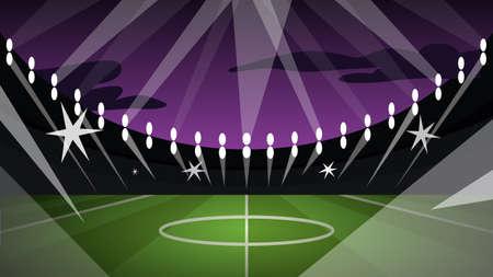 Vector illustration of big modern football arena with green field and stadium spotlight Ilustração
