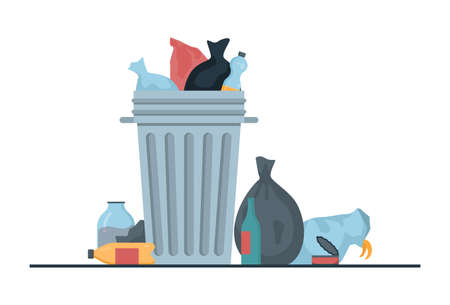 Vectore illustration of garbage can full of trash with trash bags laying nearby.