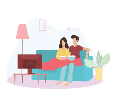 Family couple sitting at home on couch