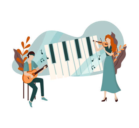 Vector illustration of two female and male musician.