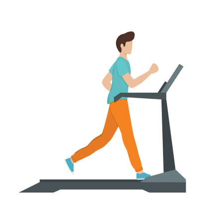 Young athletic man training on a treadmill. Active lifestyle