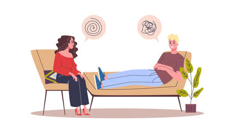 People talking to psychologist. People talking about their problem and emotion Vektorové ilustrace
