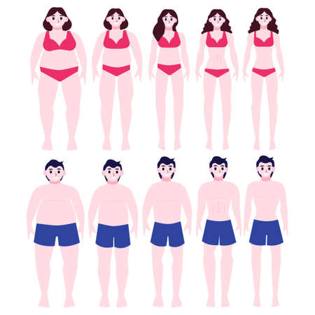 From fat to fit concept. Woman and man with obesity lose weight. Slimming progress, fitness exercise. Vector illustration in cartoon style Illustration