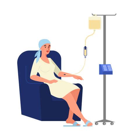 Illustrazione vettoriale del paziente oncologico che ha una chemioterapia. Donna malata di cancro con un contagocce che fa la chemio. Idea di assistenza sanitaria, malattia oncologica e trattamento medico Vettoriali