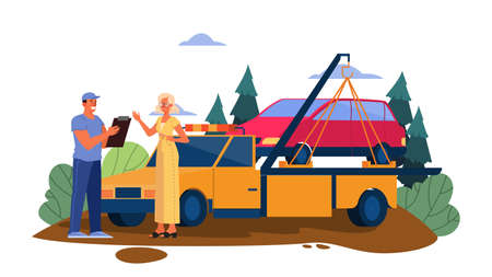 Vector illustration of broken down car on a road. Female get