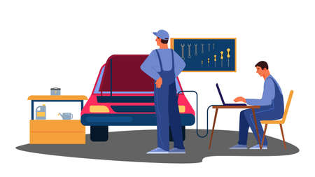 Vector illustration of automobile got fixed in car service. Illustration