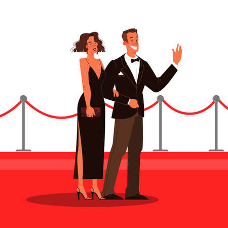Vector illustration of two celebrity on the red carpet