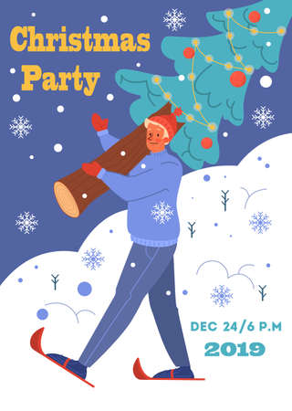 Vector illustration of vintage poster for christmas and new year.