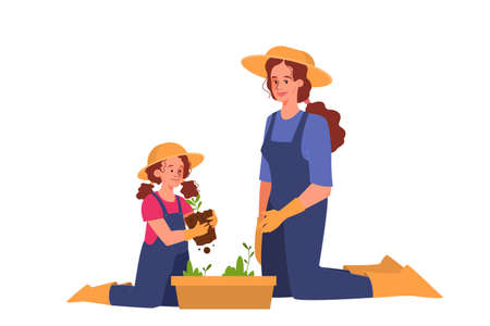 Happy mom and her daughter gardening. Having a hobby with a kid.