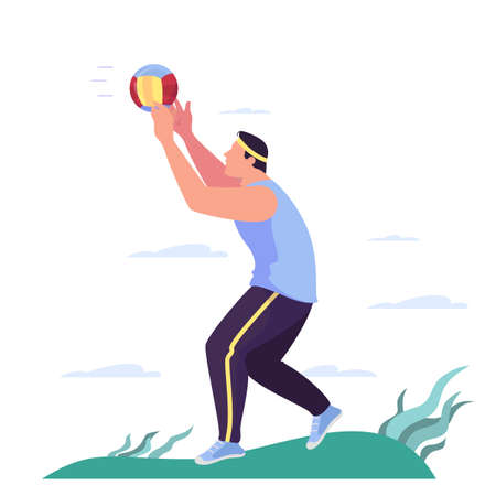 Vector illustration of a man playing volleyball in the park.