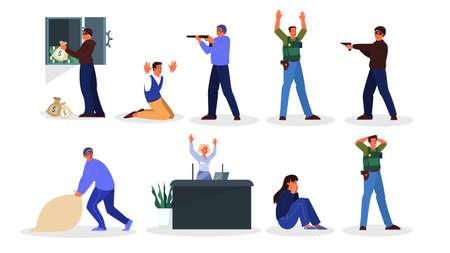 Illustrazione in stile cartone animato di una rapina in banca. Vettoriali