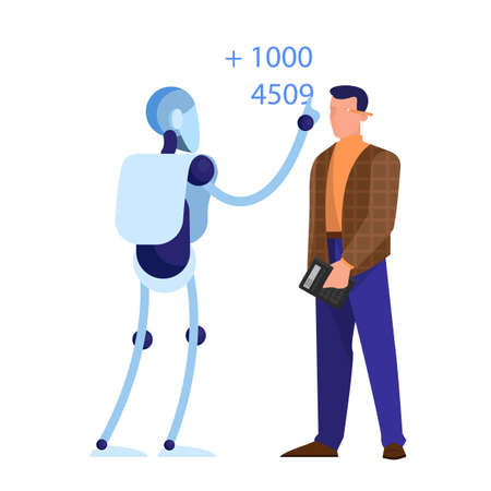Robot as a bookkeeper. Idea of artificial intelligence