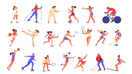 Set of isolated vector illustration of woman doing sport.