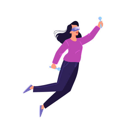 Vector illustration of person using a glasses of virtual reality. Concept of vr Çizim