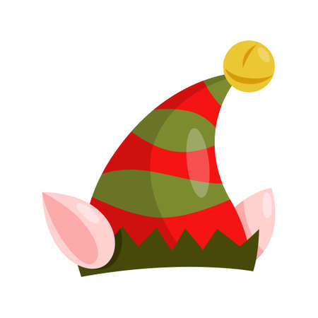 Vector holiday icon of red and green elf hat with golden bells.