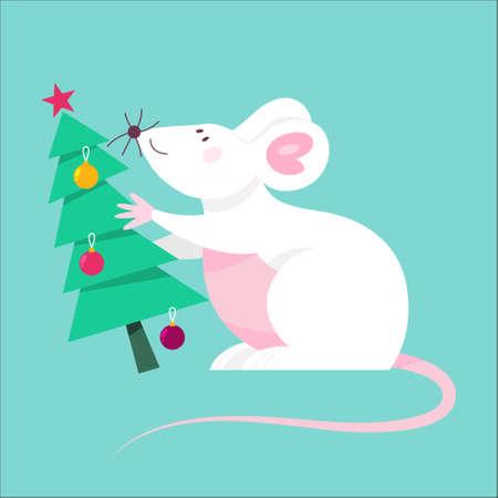 Cute Christmas rat. Animal character holding festive stuff.