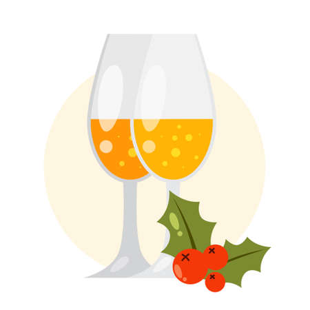 Isolated vector illustration of two glasses of champagne.