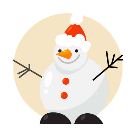 Funny cute snowman character in red Santa hat. Christmas