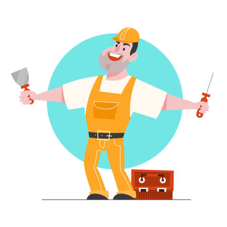 Vector illustration of foreman character. Professional worker