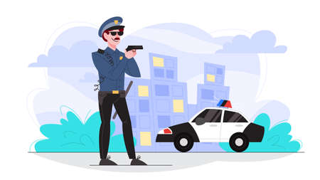 Male police officer holding a gun. Policeman patrol the city. Illustration