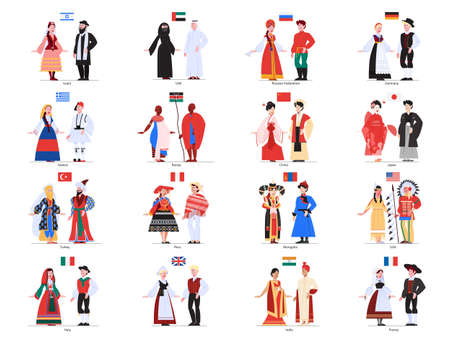 Vector illustration of multiculture people standing in their national costumes. Ilustración de vector