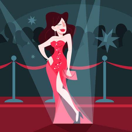 Ilustración de vector de hermosa celebridad en la alfombra roja Ilustración de vector
