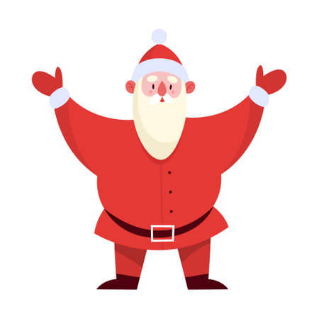 Happy Santa Claus in traditional red costume standing and greeting Иллюстрация