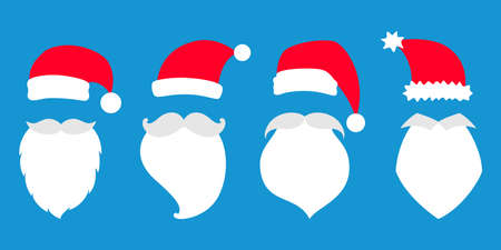 Set of vector illustratiion of Santa Claus hats, moustache and beard.