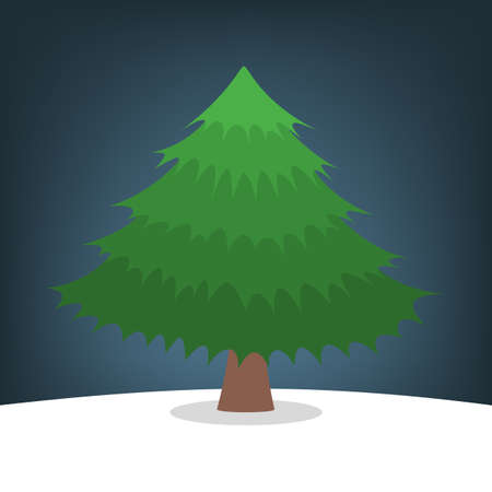 Christmas tree on the snow. Green fir for christmas and new Иллюстрация