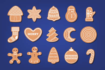 Set of traditional sweet baked christmas cookie. Gingerbread  イラスト・ベクター素材