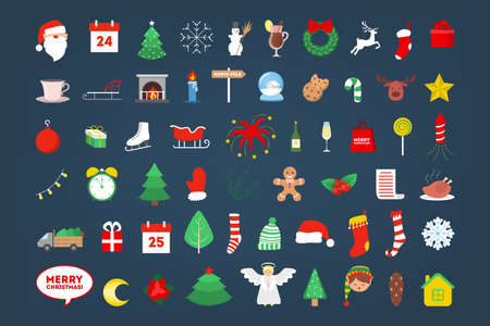 Cute christmas icon set. Collection of new year decoration stuff Иллюстрация
