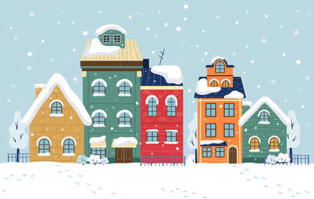 Winter City Vector Illustration. Cityscape with buildings