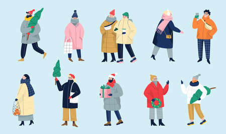 Set of isolated vector illustration of people wearing warm winter clothes. Иллюстрация