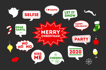 Set of vector illustration of christmas and new year stickers. Иллюстрация