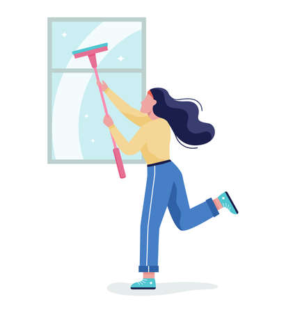 Woman wash the window. Female character clean the glass at home Illustration