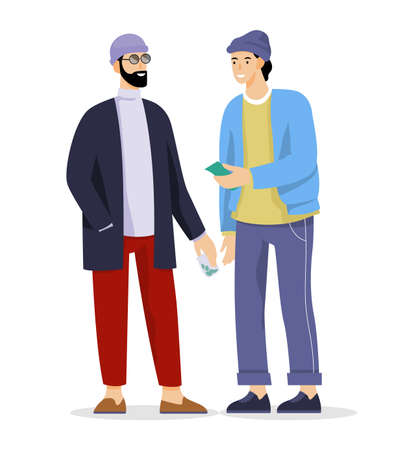 Vector illustration of drug dealer and addicted man doing illegal trade.